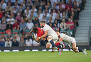 Twickenham, England.  Goeff PALING and Richard WIGGLESWORTH tackle, Fulgence QUEDRAOGO, during the QBE International. England vs France [World cup warm up match]  Saturday.  15.08.2015,  [Mandatory Credit. Peter SPURRIER/Intersport Images].
