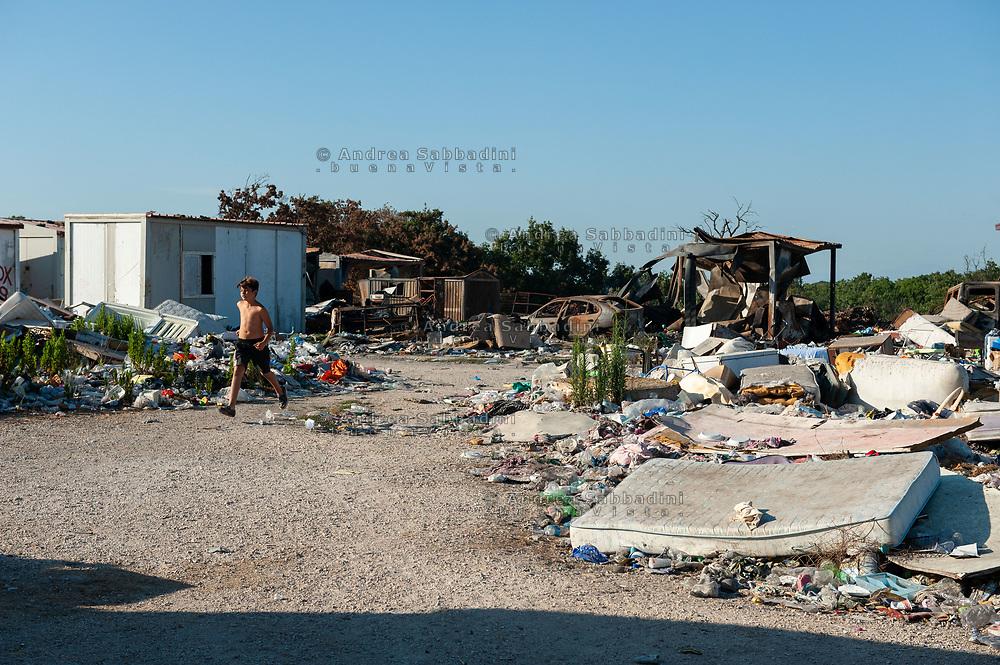 Roma, 13/07/2020: Campo Nomadi di Castel Romano, Area F a rischio sgombero.<br /> © Andrea Sabbadini
