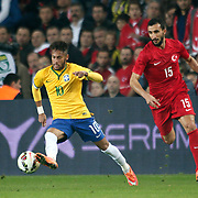Turkey's Mehmet Topal (R) and Brazil's Neymar JR (L) during their a international friendly soccer match Turkey betwen Brazil at Sukru Saracoglu Arena in istanbul November 12, 2014. Photo by Aykut AKICI/TURKPIX