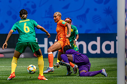 15-06-2019 FRA: Netherlands - Cameroon, Valenciennes<br /> FIFA Women's World Cup France group E match between Netherlands and Cameroon at Stade du Hainaut / Annette Ngo Ndom #1 of Cameroon, Estelle Johnson #6 of Cameroon, Sari van Veenendaal #1 of the Netherlands