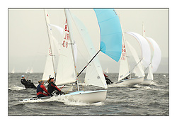 470 Class European Championships Largs - Day 2.Wet and Windy Racing in grey conditions on the Clyde...IRL83, Diana KISSANE, Saskia TIDEY, Royal Irish Yacht Club...