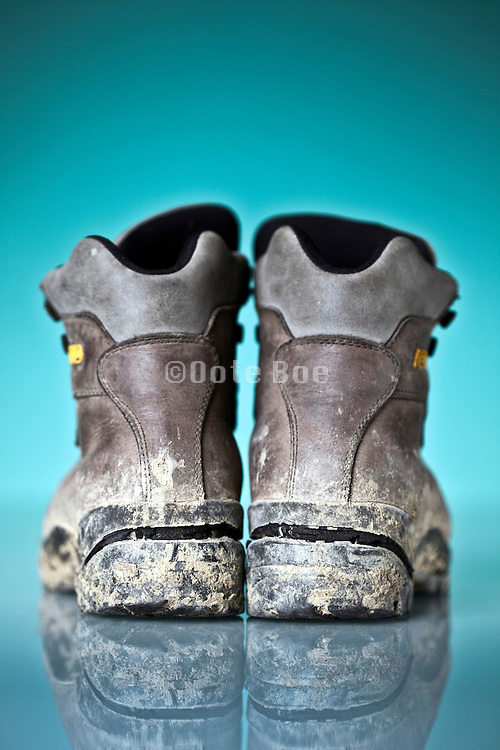 back view hiking boots with broken soles