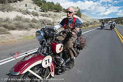Dan Kraft riding his 1934 Harley-Davidson VL during stage 11 (289 miles) of the Motorcycle Cannonball Cross-Country Endurance Run, which on this day ran from Grand Junction, CO to Springville, UT., USA. Tuesday, September 16, 2014.  Photography ©2014 Michael Lichter.
