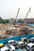 Construction work for the Delhi Metro at the Nehru Place flyover, New Delhi, India