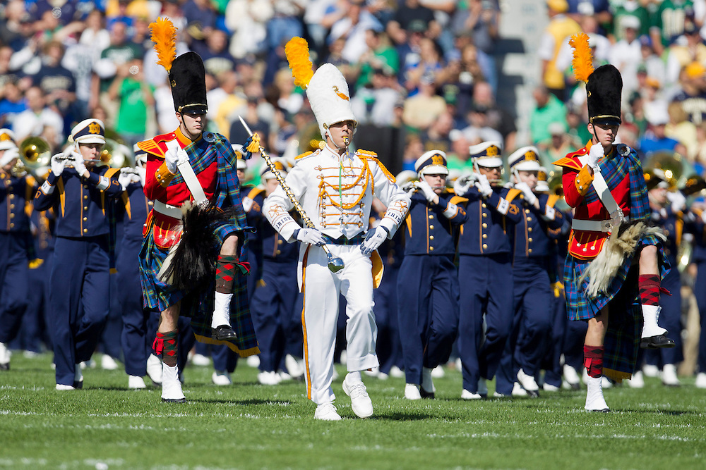 The Notre Dame band marches onto the field during pregame of NCAA football game between Notre Dame and Michigan State.  The Notre Dame Fighting Irish defeated the Michigan State Spartans 31-13 in game at Notre Dame Stadium in South Bend, Indiana.