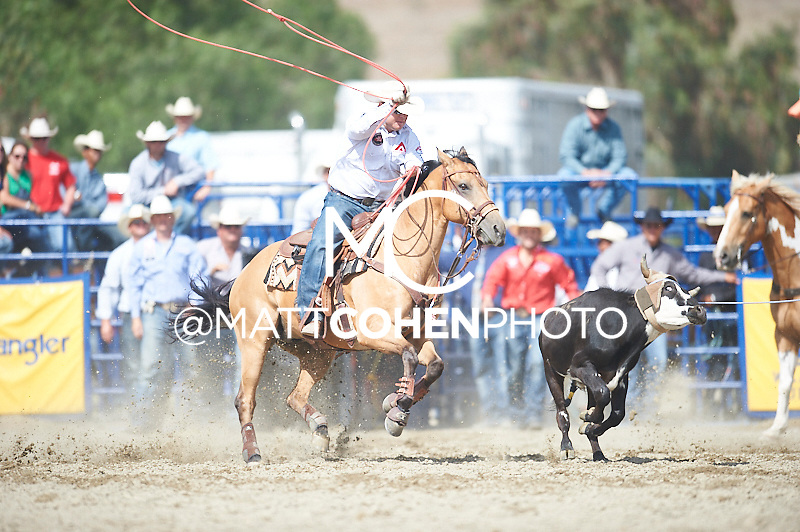Team roper Brady Minor of Ellensburg, WA competes at the Rancho Mission Viejo Rodeo in San Juan Capistrano, CA.  <br /> <br /> <br /> UNEDITED LOW-RES PREVIEW<br /> <br /> <br /> File shown may be an unedited low resolution version used as a proof only. All prints are 100% guaranteed for quality. Sizes 8x10+ come with a version for personal social media. I am currently not selling downloads for commercial/brand use.