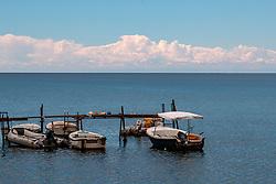 THEMENBILD - Fischerboote an einem Steg mit aufziehenden Gewitterwolken, aufgenommen am 25. Juni 2018 in Porec, Kroatien // Fishing boats on a pier with storm clouds, Porec, Croatia on 2018/06/25. EXPA Pictures © 2018, PhotoCredit: EXPA/ JFK