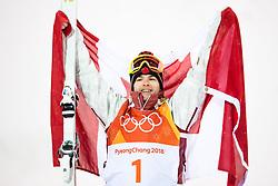 February 12, 2018 - Pyeongchang, SOUTH KOREA - 180212  Mikael Kingsbury of Canada celebrates after the men's moguls final during day three of the 2018 Winter Olympics on February 12, 2018 in Pyeongchang..Photo: Carl Sandin / BILDBYRÃ…N / kod CS / 57999_286 (Credit Image: © Carl Sandin/Bildbyran via ZUMA Press)