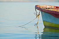 Bow of fishing boat in Sea of Cortez, La Paz, Baja