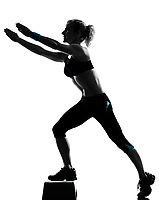 one woman exercising workout fitness aerobic exercise posture on studio isolated white background