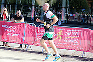 ex Wales rugby international Gareth Thomas running.Action from the Cardiff Half Marathon 2016 in Cardiff, South Wales on Sunday 2nd October 2016. this years event had a record of almost 22,000 entries, a mixture of fun runners, elite athletes and club runners.<br /> pic by Andrew Orchard, Andrew Orchard sports photography.