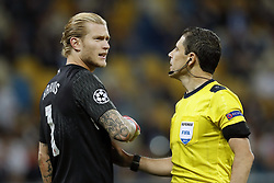 (L-R) goalkeeper Loris Karius of Liverpool FC, referee Milorad Mazic during the UEFA Champions League final between Real Madrid and Liverpool on May 26, 2018 at NSC Olimpiyskiy Stadium in Kyiv, Ukraine