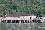 Side elevation of wooden stilt house in the Water Village, Kampung Buli Sim Sim, Sandakan, Sabah