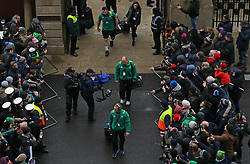 The Ireland players arrive for the NatWest 6 Nations match at Twickenham Stadium, London.