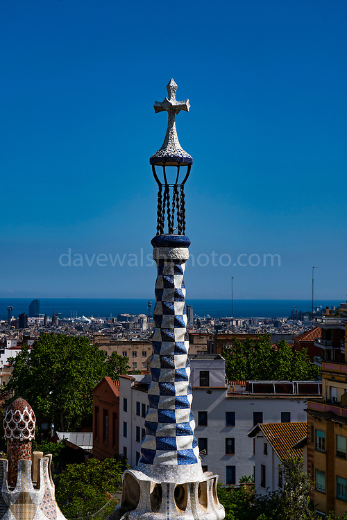 Parc Guell, Barcelona, Catalonia, Spain. A public park design by famed Catalan architect Antoni Gaudi featuring gardens and architectural curiosities.
