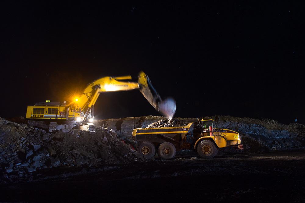Night time work at the Usutu Mine
