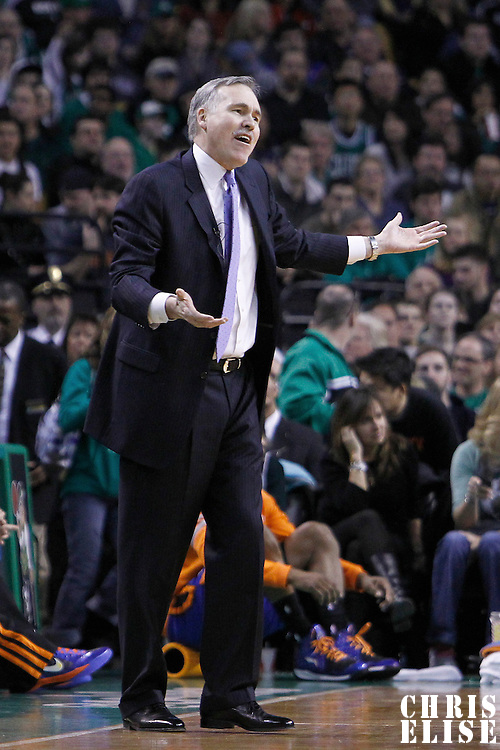 04 March 2012: New York Knicks head coach Mike D'Antoni looks dejected during the Boston Celtics 115-111 (OT) victory over the New York Knicks at the TD Garden, Boston, Massachusetts, USA.