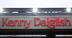 LIVERPOOL, ENGLAND - Friday, October 13, 2017: Kenny Dalglish lettering on the side of the Centenary Stand, renamed the Kenny Dalglish Stand. (Pic by David Rawcliffe/Propaganda)