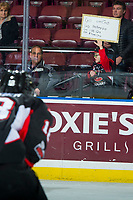 KELOWNA, CANADA - FEBRUARY 20:  A young Prince George Cougars fan holds up a sign at the Kelowna Rockets on February 20, 2018 at Prospera Place in Kelowna, British Columbia, Canada.  (Photo by Marissa Baecker/Shoot the Breeze)  *** Local Caption ***