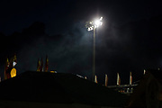 WASHINGTON, USA - August 19: Smoke from the dozens of food vendors rises into the night sky at the Montgomery County Agricultural Fair in Gaithersburg, Md., USA on August 19, 2017.
