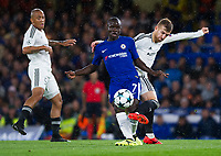 Chelsea's Ngolo Kante holds off the challenge from Qarabag's Pedro Henrique <br /> <br /> Photographer Ashley Western/CameraSport<br /> <br /> UEFA Champions League - Chelsea v FK Qarabag - Tuesday 12th September 2017 - Stamford Bridge - London<br />  <br /> World Copyright © 2017 CameraSport. All rights reserved. 43 Linden Ave. Countesthorpe. Leicester. England. LE8 5PG - Tel: +44 (0) 116 277 4147 - admin@camerasport.com - www.camerasport.com