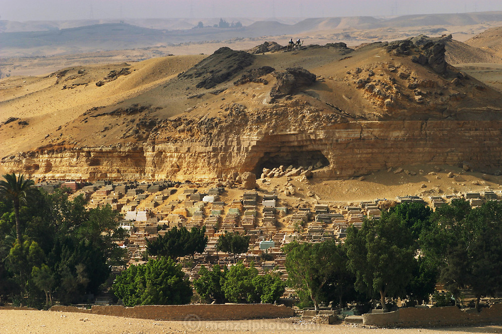 Pyramids and cemetery at Giza, outside Cairo, Egypt.