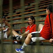 11/3/16 4:10:24 PM -- Palomar College vs Santa Ana College Women's Basketball. Players from Santa Ana College get ready for their game against Palomar. --Santa Ana College, Santa Ana, Ca<br /> <br /> Photo by Joe Bergman / Sports Shooter Academy
