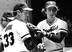 S.F. Giants Jim Barr and Jack Clark..(1978 photo/Ron Riesterer)