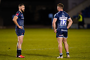 Sale Sharks wing Byron McGuigan talks with centre Sam Hill during a Gallagher Premiership Round 12 Rugby Union match, Friday, Mar 05, 2021, in Eccles, United Kingdom. (Steve Flynn/Image of Sport)