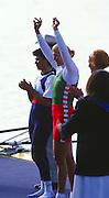 Sydney. AUSTRALIA, Women's, Olympic, Single Sculls medalist: Left; Silver Medalist BUL W1X Rumyana NEYKOVA. centre; Gold Medalist: Ekaterina [KHODOTOVICH] KARSTEN. Right; Bronze Medalist GER W1X Katrin RUTSCHOW. Awards Dock. 2000 Olympic Games - Olympic Regatta; Penrith, NSW. [Mandatory Credit: Peter Spurrier: Intersport Images] Sydney International Regatta Centre (SIRC) 2000 Olympic Rowing Regatta00085138.tif