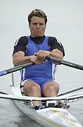 Hazewinkel. BELGUIM  GBR M1X. James CRACKNELL. 2004 GBR Rowing Trials - Rowing Course, Bloso, Hazewinkel. BELGUIM. [Mandatory Credit Peter Spurrier/ Intersport Images]