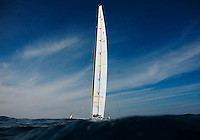 VALENCIA, SPAIN - FEBRUARY 14:  US challenger BMW Oracle Racing giant trimaran sails during the second race of the 33rd America's Cup off Valencia's coast on February 14, 2010 in Valencia, Spain.  (Photo by Manuel Queimadelos Alonso/Getty Images) *** Local Caption *** Larry Ellison
