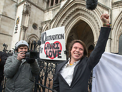 February 5, 2018 - London, United Kingdom - LAURI LOVE, convicted of computer hacking wins his appeal against his extradition to the USA. He was arrested for allegedly hacking into the US Central bank, NASA and the FBI. He is supported by his girlfriend, Sylvia Mann and his parents Father Alexander Love and his mother Sirkka-Lisa Love. (Credit Image: © Mark Thomas/i-Images via ZUMA Press)