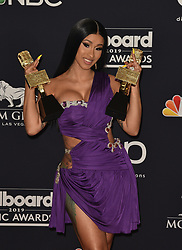 May 1, 2019 - Las Vegas, NV, USA - LAS VEGAS, NEVADA - MAY 01: Cardi B poses with the awards for Top Rap Song 'I Like It,' Top Hot 100 Song for 'Girls Like You,' in the press room during the 2019 Billboard Music Awards at MGM Grand Garden Arena on May 01, 2019 in Las Vegas, Nevada. Photo: imageSPACE (Credit Image: © Imagespace via ZUMA Wire)