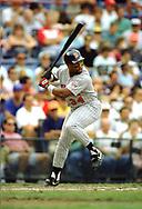 KANSAS CITY - 1991:  Kirby Puckett of the Minnesota Twins bats during an MLB game versus the Kansas City Royals at Kaufmann Stadium in Kansas City, Missouri during the 1991 season. (Photo by Ron Vesely) Subject:   Kirby Puckett