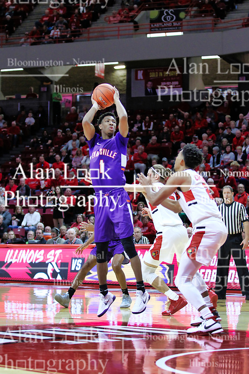 NORMAL, IL - January 05: Marty Hill shoot over Zach Copeland during a college basketball game between the ISU Redbirds and the University of Evansville Purple Aces on January 05 2019 at Redbird Arena in Normal, IL. (Photo by Alan Look)