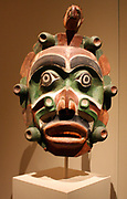 Yagim Mask, 1920-25 Vancouver Island, British Columbia.  Wood, paint.  George Walkus (kwakwaka'wakw, ca 1875-1958).  A furtive, aggressive sea creature known as Yagim was part of the dramatic Tseyka performance cycle, which took place during the dark winter when life on the North West coast moves largely indoora.