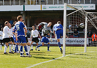 Photo: Steve Bond/Richard Lane Photography. Hereford United v Leicester City. Coca Cola League One. 11/04/2009. Matt Oakley equalises from a free kick. Diving keeper Peter Gulacsi cannot save.