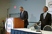 Washington, DC-April 11:  (L-R) Attorney General of the United States Eric Holder and Rev. Al Sharpton attend the 14th Annual National Convention Special Plenary Presentation 1 with Attorney General of the United States Eric Holder held at the Walter E. Washington Convention on April 11, 2012 in Washington, DC . Photo by Terrence Jennings