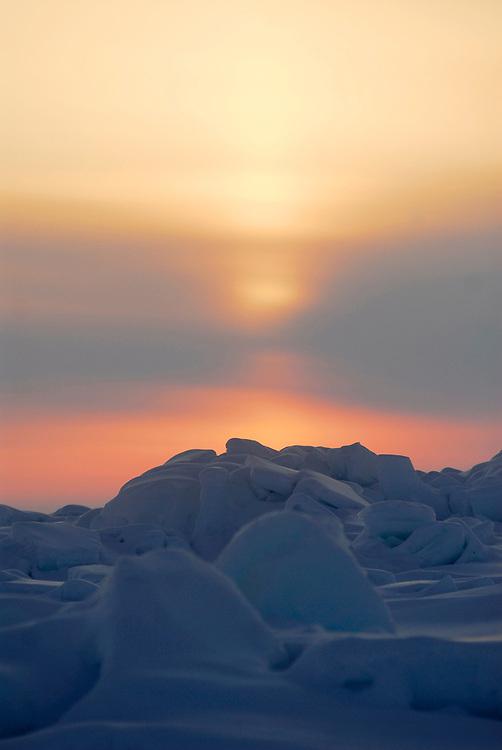 Barrow, Alaska. Midnight sun over the ice of the Arctic Ocean during Spring. May 2007