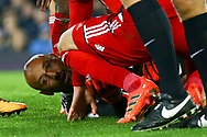 Watford Goalkeeper Heurelho Gomes (on ground) lies injured and looks dazed with a cut to his face. Premier league match, Everton vs Watford at Goodison Park in Liverpool, Merseyside on Sunday 5th November 2017.<br /> pic by Chris Stading, Andrew Orchard sports photography.