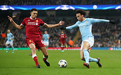 Liverpool's Trent Alexander-Arnold and Manchester City's Leroy Sane (right) battle for the ball during the UEFA Champions League, Quarter Final at the Etihad Stadium, Manchester.