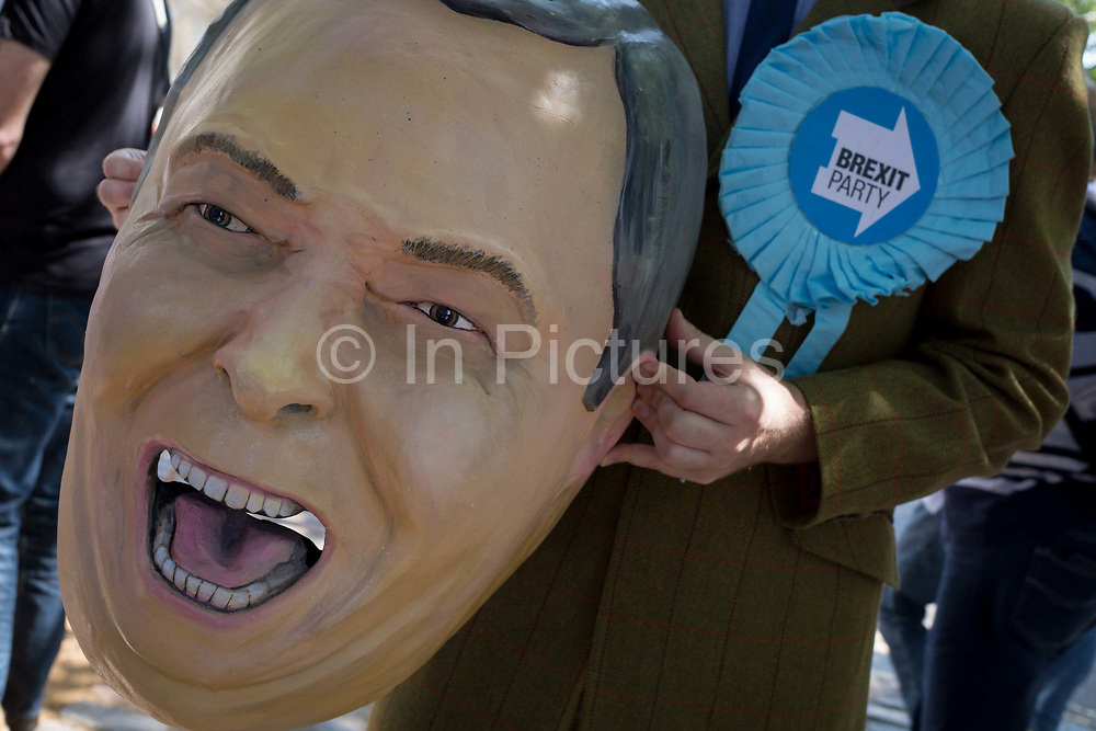 On the day that the Conservative Party elects its leader and the countrys Prime Minister, Boris Johnson, a Nigel Farage parody appears outside the QE2 Centre to learn the result, on 23rd July 2019, in Westminster, London, England.