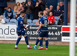 Dundee's Paul McGowan cele scoring their first half goal. half time : Dundee 1 v 0 Partick Thistle, Scottish Championship game player 19/10/2019 at Dundee stadium Dens Park.