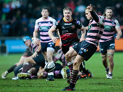 Cardiff Blues' Gareth Anscombe boots the ball of the pitch<br /> <br /> Photographer Simon King/Replay Images<br /> <br /> Guinness Pro14 Round 11 - Dragons v Cardiff Blues - Tuesday 26th December 2017 - Rodney Parade - Newport<br /> <br /> World Copyright © 2017 Replay Images. All rights reserved. info@replayimages.co.uk - www.replayimages.co.uk