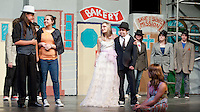 """Sky Masterson (De Clarke), Sister Sarah Brown (Noelle Benavides), Miss Adelaide (Caitlyn Houston) and Nathan Detroit (Nick Prescott) run through their scenes during rehearsal for the production of """"Guys and Dolls"""" by the Gilford Middle School.    (Karen Bobotas/for the Laconia Daily Sun)"""