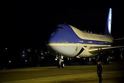 © London News Pictures. 21/04/2016. Stansted, UK. Air Force One positioning on the runway as President of the United States BARACK OBAMA arrives at Stansted Airport in Essex, UK, for the start of his UK visit.. President Obama will meet the Queen for lunch at Windsor Castle, and also holds talks with Prime Minister David Cameron. Photo credit: Ben Cawthra/LNP
