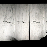 """The white marble """" Wall of Names"""" is lit for the visitors and media that continue to stay well into the evening following the unveiling of Phase One of the Flight 93 National Memorial  memorial near the small town of  Shanksville, Pennsylvania on September 10, 2011. UPI/Archie Carpenter"""