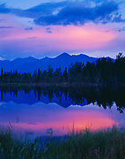 Pastel light of sunset over the Kluane Ranges, Kluane Game Sanctuary east of the Donjek River, Yukon Territory, Canada.