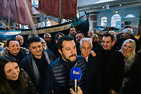 CESENATICO, ITALY - 5 JANUARY 2020: Matteo Salvini, former Interior Minister of Italy and leader of the far-right League party,  makes a statement on the RAI national broadcaster during his campaign in Cesenatico, Italy, on January 5th 2020.<br /> <br /> Matteo Salvini is campaigning in the region of Emilia Romagna to support the League candidate Lucia Borgonzoni running for governor.<br /> <br /> After being ousted from government in September 2019, Matteo Salvini has made it a priority to campaign in all the Italian regions undergoing regional elections to demonstrate that, in power or not, he still commands considerable support.<br /> <br /> The January 26th regional elections in Emilia Romagna, traditionally the home of the Italian left, has been targeted by Matteo Salvini as a catalyst for bringing down the government. A loss for the center-left Democratic Party (PD) against Mr Salvini's right would strip the centre-left party of control of its symbolic heartland, and probably trigger a crisis in its coalition with the Five Star Movement.